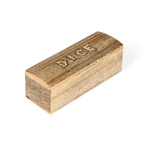 Penguin Home houten 5 dobbelstenen spel met messing Inlay houten opbergdoos, 7,6 x 10,2 x 10,8 cm