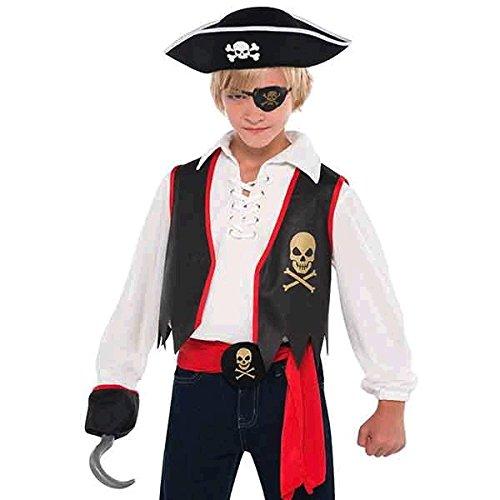 Amscan International Costume de Pirate pour Enfant, avec Cache-œil, Crochet, Ceinture, Boucle à tête de Mort, pour garçon et Fille
