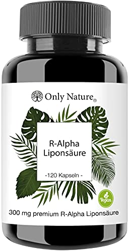 Einführungspreis (NEU): Only Nature® R Alpha Liponsäure 300mg - hochdosiert - 120 laborgeprüfte Kapseln - vegan - ohne Zusätze - in Deutschland produziert - R-Alpha-Liponsäure