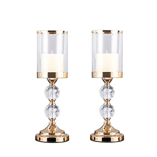 Kamayic 2balls Pillar Cylinder Candle Hurricane Holder, Clear K9 Crystal Glass Taper Candle Stand Candlesticks Holder for Tealight Church Home Dining Room Wedding Table Centerpieces Decoration 2pcs