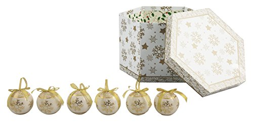 Galileo Casa Noel Set 14 Palle di Natale, Plastica, Bianco, 7x7x7 cm