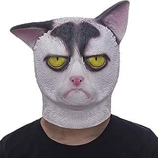 molezu Grumpy Cat Mask Halloween Costume Party Novelty Animal Head Rubber Latex Mask Black and White