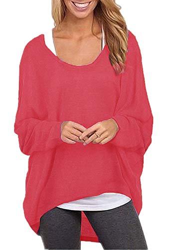 ZANZEA Damen Lose Asymmetrisch Jumper Sweatshirt Pullover Bluse Oberteile Oversize Tops Rot EU 48/Etikettgröße 2XL