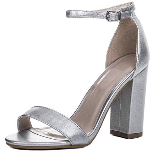 Peep-Toe Blockabsatz Sandalen Schuhe Pumps Synthetik Kunstleder Gr 41