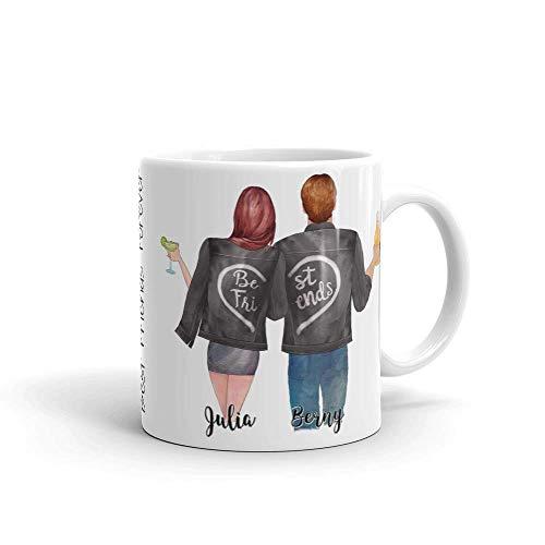 Jimbeels® BFF Personalisierbare Kaffeetasse   Beste Freunde Tasse anpassbar   Wunschname Kaffeebecher für Frauen und Männer   Individuelles Best Friends Geschenk