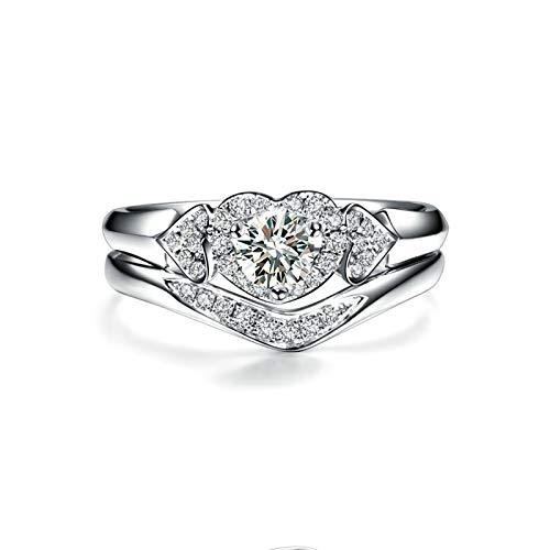 Bishilin Ringe 750 Gold für Frauen Stapel Ring mit Diamant 0.19ct, Verlobungsringe Hochzeit Ring Große 60 (19.1)