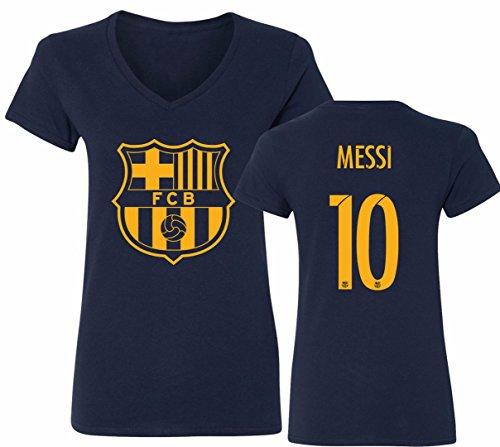 Barcelona Soccer Shirt Lionel Messi #10 Futbol Jersey Womens V-Neck T-Shirt Navy
