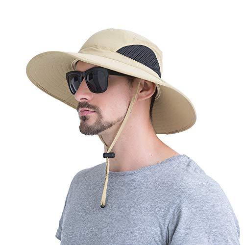 Momoon Sommerlicher atmungsaktiver Mesh-Hut mit breitem Rand Fischerhut mit verstellbarem Kordelzug zum Wandern, Traving, Outdoor.Momoon, Khaki, Kopfumfang: 60 cm