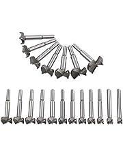 flintronic Brocas Forstner, 19PCS (15mm ~ 40mm) Brocas Set de Acero al Tungsteno Titanium Recubierto, Fresadora Herramienta para Perforadora, Corte Agujero en Carpintería para Madera