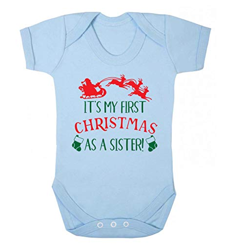 Flox Creative Baby Gilet pour bébé Inscription First Christmas as a Sister - Bleu - 2 Mois