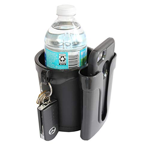 BikeCupHolder - Black - Cell Phone - Keys - Holder Combo for Beach Cruiser - Commuter Bike