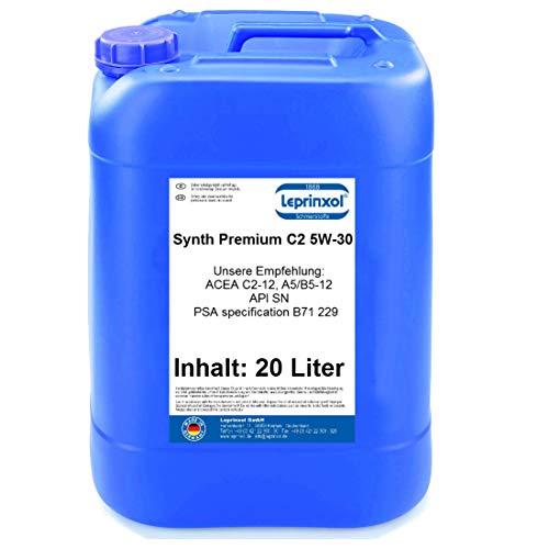 Leprinxol Synth C2 5W-30 20 Liter LSC C2 5W30 MOTORÖL FÜR Renault FIAT richtige KFZ Motorenöl für Normen RN 0700, ACEA C2, API SN/CF sowie FIAT 9.55535-S1