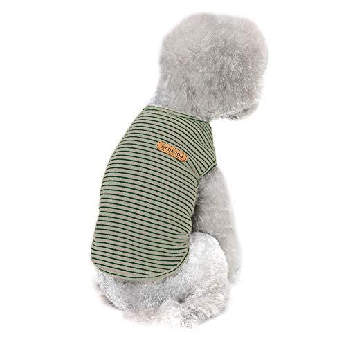 Hund gestreiftes T-Shirt, YAODHAOD Pet Basic Baumwolle ärmelloses Westent-Shirt, Sommerhund weiche atmungsaktive Hemden für kleine mittelgroße Hundekatzenkleidung (XL)