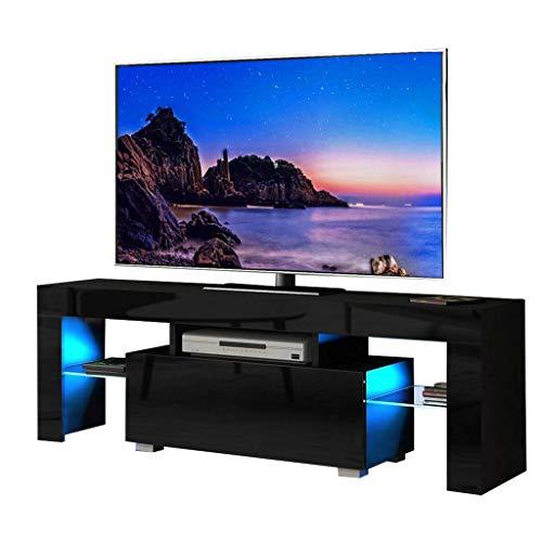 YOLEO TV-Lowboard Schwarz, Fernsehschrank Fernsehtisch TV-Schrank mit LED-Beleuchting, Stehend TV-Regal 130x35x45 cm (Stil-2 Schwarz)