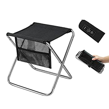 FUNDANGO Mini Folding Camping Stool,Portable Lightweight Camp Stools with Pocket,Outdoor Ultralight Slacker Small Chair for Adults Hiking,Fishing,Gardening,BBQ,Hunting,Stainless Steel,330 LBS,1 Pack
