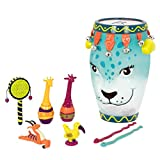 B. toys by Battat Toddler Musical Instrument Set – Jungle Animals Percussion Toys for Kids – 9 Pcs – Drums, Tambourine, Maracas, Whistles & More – 2 Years +, Multicolor