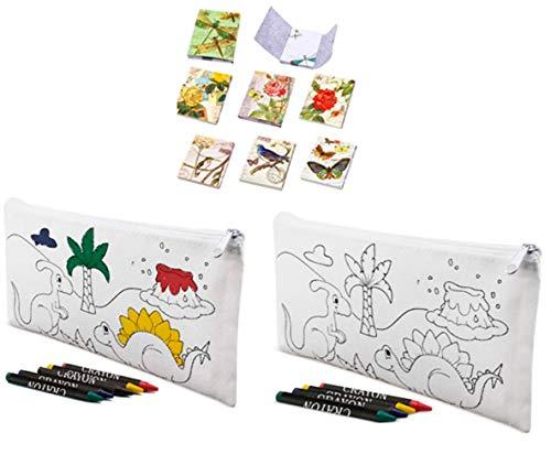 Lote de 30 Estuches para Colorear Infantiles Dinos con 4 Ceras Incluidas + 3 Libretas Bloc Notas Floral - Estuches con Pinturas para Pintar. Estuches Baratos para Regalos para niños Comuniones