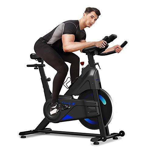Dripex Magnetic Resistance Indoor Exercise Bike (2021 Upgraded New Version), Super-Silent, Capacity 300 LBS, LCD Monitor, Pulse Sensor, Bottle Holder, Home Gym Stationary Bike