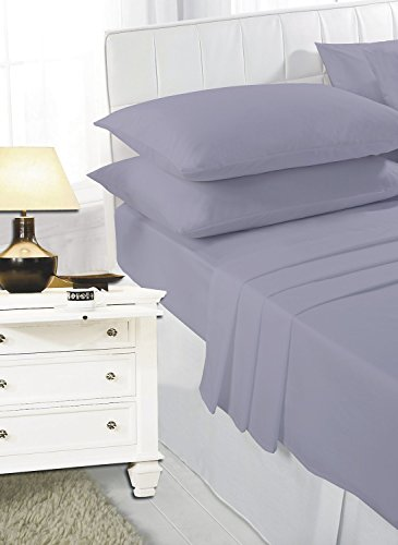 K Collection Percale Easy Care Polycotton Fitted Sheets Single - Double - King - Super King - Pillowcases (Super King, Silver/Grey)