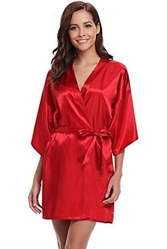 GDYJP Robe Satinata da Donna, Abito da Vestaglia in Seta Morbido Leggero Abbigliamento da sleepweight, Loungewear, Scialle Asciugamani da Bagno (Color : Red, Dimensione : L)