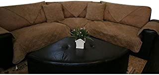 OctoRose Quilted Micro Suede Customised Sectional Sofa Throw Pad Furniture Protector Sold by Piece Rather Than Set (Camel, 35x62)