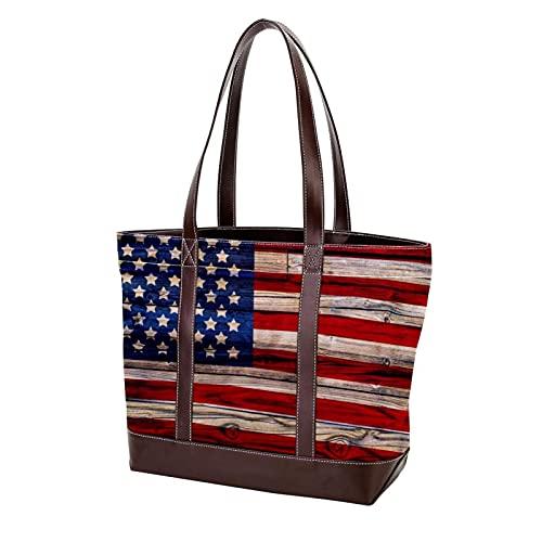 NaiiaN Umhängetaschen Handtaschen Light Weight Strap alte gemalte amerikanische Flagge auf dunklem Holzzaun für Mutter Frauen Mädchen Damen Student Einkaufstasche Geldbörse Einkaufen