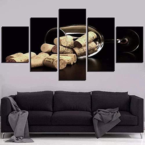 Lienzo Arte de la pared 200Cmx100 Cm 5 piezas Impresiones no tejidas Imagen enmarcada Obra de arte Pintura Imagen Foto Decoración del hogar Botella Corcho Copa de vino