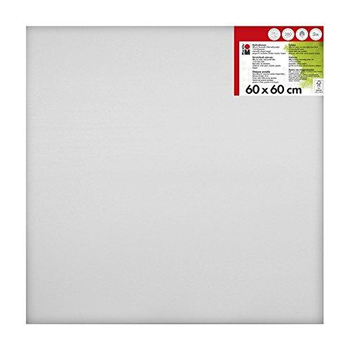 Marabu 1616000000601 - Keilrahmen, ca. 60 x 60 cm, Rahmentiefe ca. 1,8 cm, weiß, mit 380 g/qm Baumwolle bespannt, 3 fach grundiert, leicht saugend, für Acryl-, Öl-, Gouache- und Temperafarben
