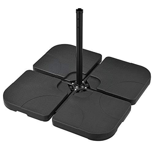 Juskys Schirmgewicht 4er-Set Quad für Schirmständer mit 60 Liter Wasser oder 80 kg Sand befüllbar HDPE Kunststoff Sonnen-Schirmständer