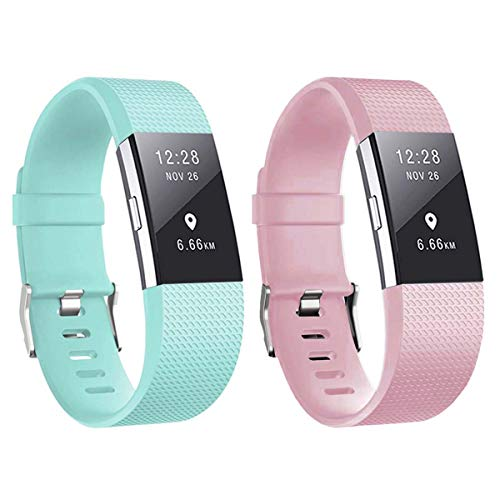 Waterproof Bands for Fitbit Charge 2 (2 Pack), Classic & Special Edition Replacement Wristbands Sport Adjustable for Women Men Small Large