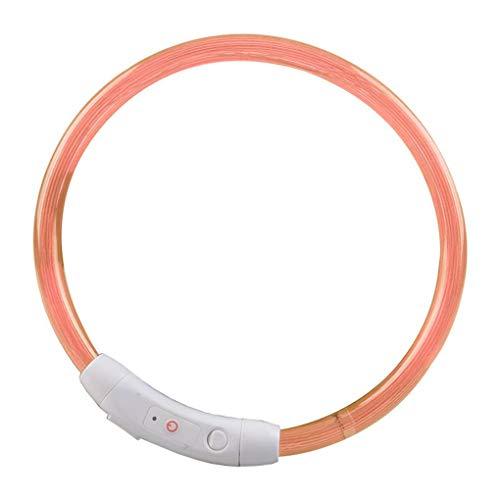 Qinghengyong De Carga USB para Mascotas Collar de Perro Noche Luminosa LED Recargable Tubo de Perro Que Destella Noche Luminosa de Seguridad del Perrito de los Collares Naranja 3