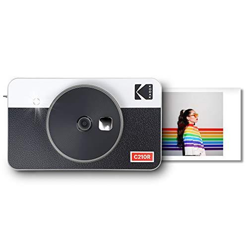 Kodak Mini Shot 2 Retro, Fotocamera Istantanea Portatile e Stampante Fotografica, iOS e Android, Bluetooth, Tecnologia 4Pass, 54x86mm -Bianco- 8 Fogli