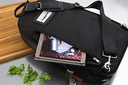 Chef Knife Bag (21+ Slots) is Padded, Includes a Padlock, Holds 21 Knives PLUS Your Knife Steel, a Zipped Tool Pouch, and More! Our Professional Line Knife Carrier Includes Name Card Holder (Bag Only)