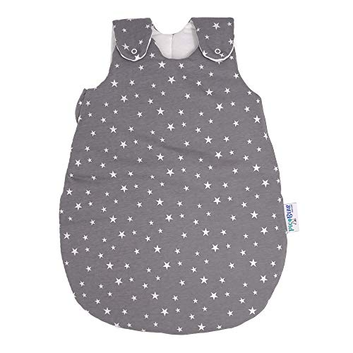 Babyschlafsack HONEY | mitwachsend & atmungsaktiv | ganzjahres Baby-Schlafsack | pflegeleichtes Polyesterflies | vier verstellbaren Größen (Sterne grau, 86/92)