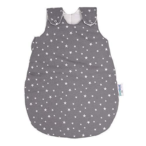 Babyschlafsack HONEY | mitwachsend & atmungsaktiv | ganzjahres Baby-Schlafsack | pflegeleichtes Polyesterflies | vier verstellbaren Größen (Sterne grau, 50/56)