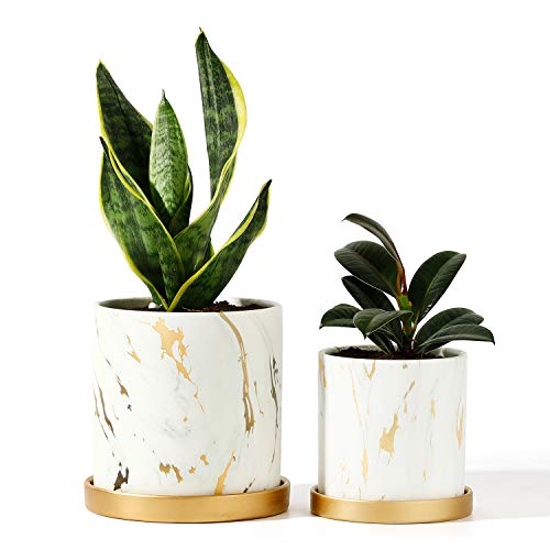POTEY Ceramic Flower Plants Pots Planter - 3.8 Inch + 5.1 Inch Marble Container Drainage with Sacuer Indoor Herb Garden Bonsai Planting - Set of 2 (White)