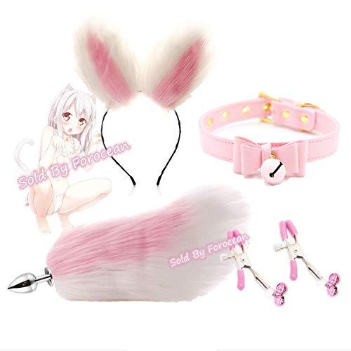 forocean Cute Ears Lolita Tocado Nïpplê Clïp Fluffy Fox Tail B-ütt an-âl Pl-ùg Smooth T-ö-ys Fitness Sports Yoga Training Props Accesorios (Size * L