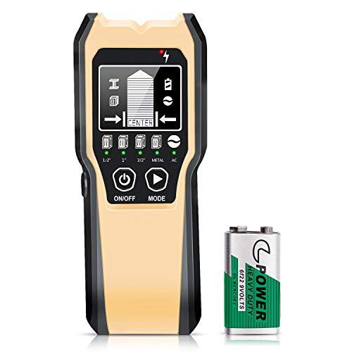 Ortungsgerät 4 in 1 Multifunktionswand Scanner Detektor für Holz, Metall, Stromleitung und AC Spannungsführenden Leitungen (Silber-4 in 1)