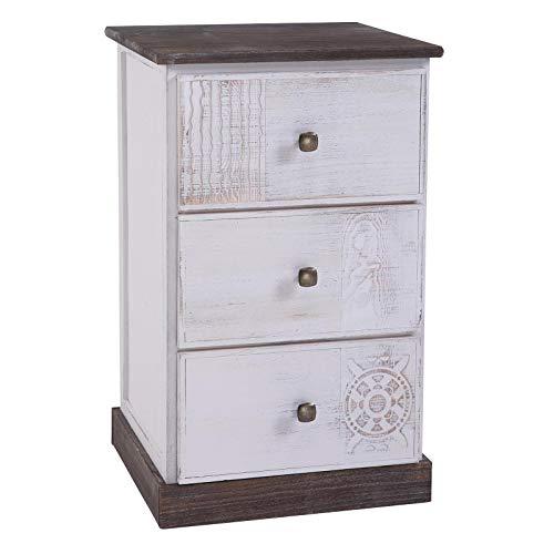 CARO-Möbel Nachttisch Juna Nachtschrank Nachtkonsole für Boxspringbett mit 3 Schubladen, braun/weiß Shabby Chic Vintage