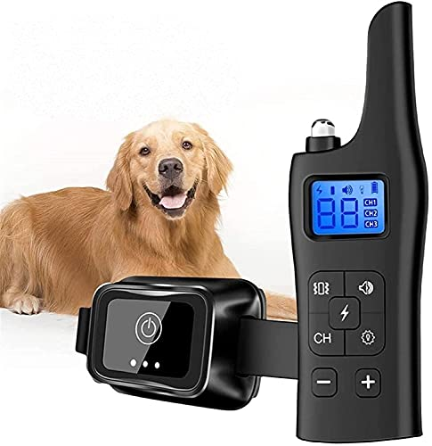 LXNQG Collar de entrenamiento de perro Collar de vibración recargable 2600 pies Control remoto IP67 Impermeable con LCD Mostrar 3 modos de entrenamiento, zumbador, vibración, choque, ajustable (negro)