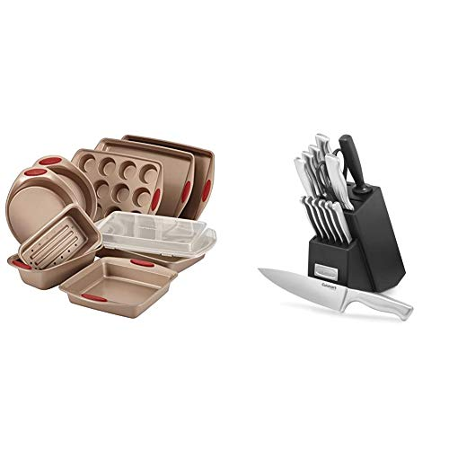 Rachael Ray 52410 Cucina Nonstick Bakeware Set with Baking Pans, Baking Sheets, Cookie Sheets, Muffin Pan and Bread Pan - 10 Piece & Cuisinart 15-Piece Stainless Steel Hollow Handle Block Set