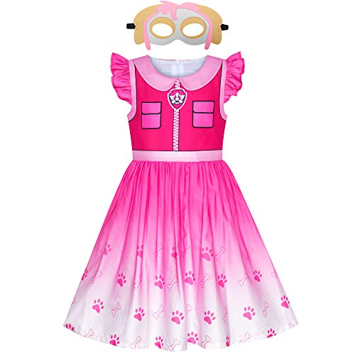 Sunny Fashion Vestido para niña Pata Skye Máscara Patrulla Skye Disfraz Fiesta de Halloween 7 años
