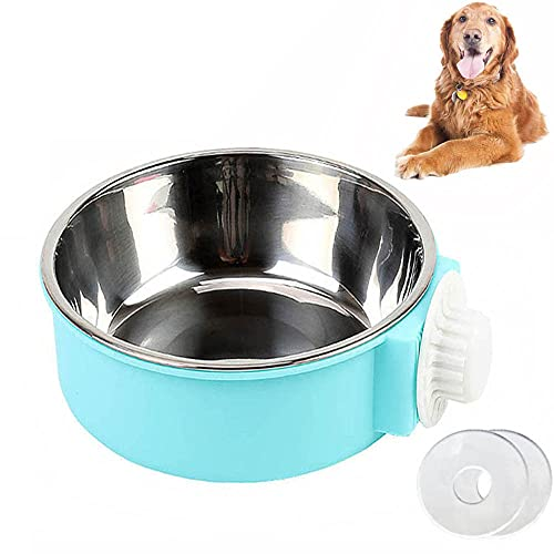 SUOXU Crate Water Bowl Pet Hanging Bowl for Crates & Cages Removable Stainless Steel Dog Bowl 2-in-1 Feeder Dog Water Food Bowl for Dog Cat and Rabbit, Bird, Hamster, Shitzu, Ferret
