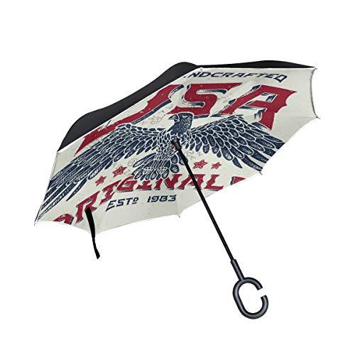 ISAOA Doppelschichtiger umgekehrter faltbarer Regenschirm, selbststehend und innen nach außen, Auto-Regenschirm, USA Originale mit Glatzenadler, winddicht, Regenschirm mit UV-Schutz