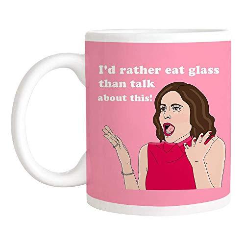 Bethenny Frankel de Real Housewives of New York Mug, Prefiero Comer Vidrio Que Hablar de Esto, Taza de café/Taza de té de cerámica de 11 oz