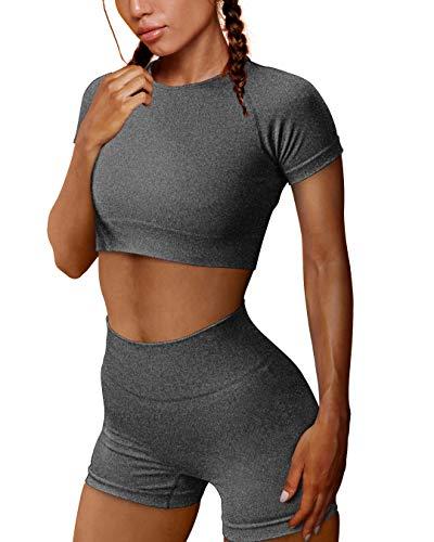 OYS Women's Yoga 2 Piece Outfits Workout Running Crop Top Seamless High Waist Sports Shorts Sets Grey