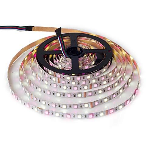 BTF-LIGHTING 5050 RGBW RGB+Cool White(6000K-7000K) 150RGB+150White LED 5m 16.4ft 60LEDs/m Multi-Colored LED Tape Lights IP30 Non-Waterproof White PCB DC12V for Bedroom Kitchen Home Decoration