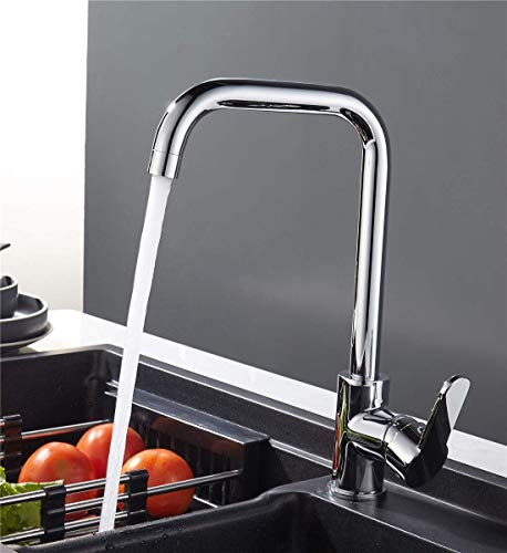 Sccot Küchenarmatur, 360° Drehbar Küche Mischbatterie Wasserhahn | Messing Einhandmischer Waschbeckenarmatur Spültischarmatur Armatur Mischbatterie für Küche | Chrom