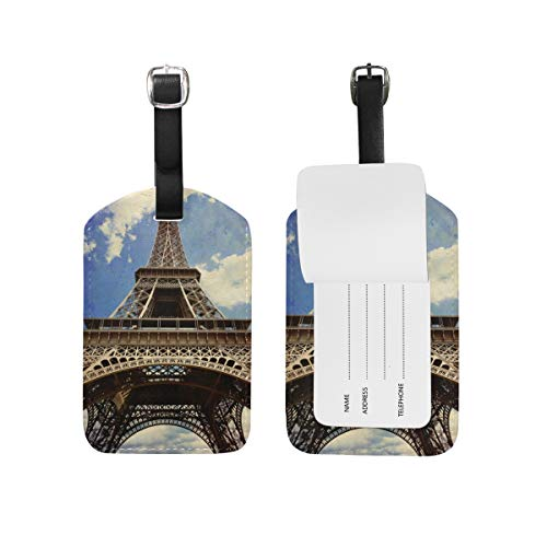 My Daily Eiffel Tower Paris - Etiqueta de equipaje de piel sintética para equipaje (2 unidades)