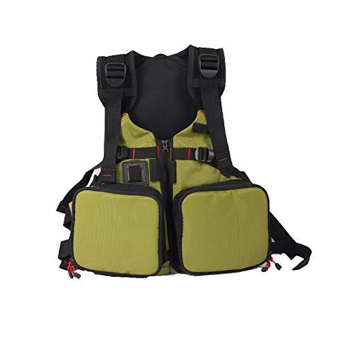 KEXQKN Hombres al Aire Libre Chaleco de Pesca Chaleco de Vida Profesional Luya Buoyania Pesca Chaleco Buoyancy 90kg para Viajes de Caza de Pesca (Color : Green Square Pocket, Size : 45 90KG)